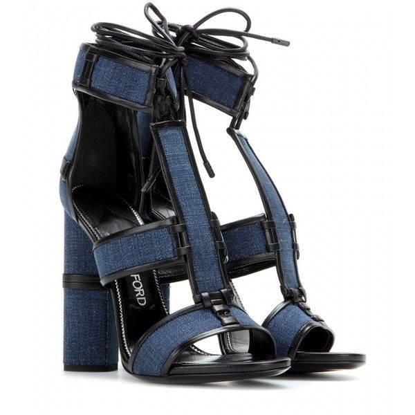 Tom Ford Patchwork Denim and Leather Sandals (5.720 BRL) ❤ liked on Polyvore featuring shoes, sandals, heels, blue, tom ford, heeled sandals, blue heel shoes, genuine leather shoes and denim shoes