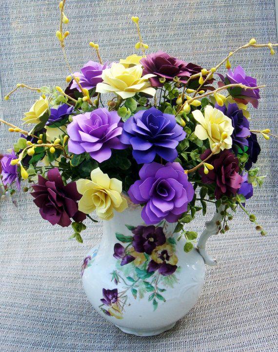 The 149 best paper flower bouquets images on pinterest artificial paper flower arrangement in a pansey by sweetpeapaperflowers 5500 mightylinksfo