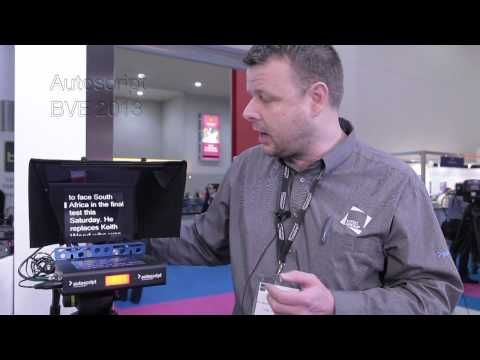 Autoscript showcasing their EPIC Prompting System (autocue) at BVE 2013. It's pretty cool stuff, and light.