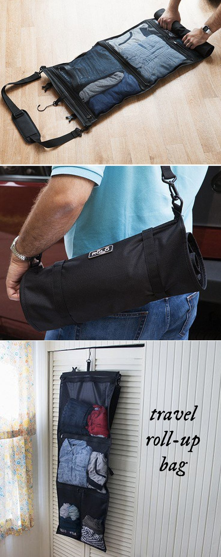 This lightweight travel bag has four separate mesh sections—two large and two small—that can hold up to four days' worth of clothing and toiletries. No need to pack & unpack a suitcase on short trips or when hiking, camping, or backpacking. Just roll and unroll Rolo.