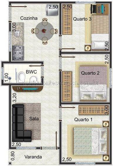 planta de casa com até 50 m2 e 3 quartos