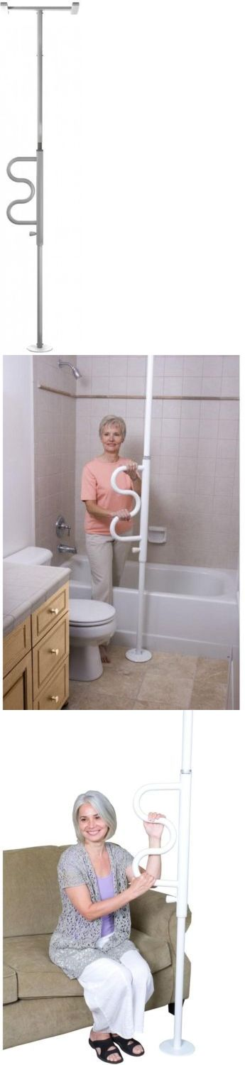 Handles and Rails: Adjustable Floor To Ceiling Curve Grab Bar Security Pole Bathroom Safety Handle BUY IT NOW ONLY: $223.42