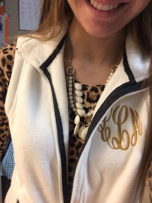 Leopard long sleeves and a monogrammed vest, how cute!