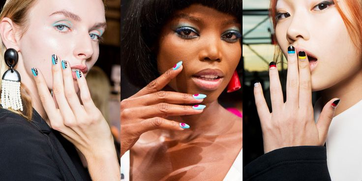 New York Fashion Week S/S 2017 colored and nails