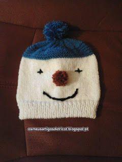 Os meus artigos de tricot (e desabafos de mãe): Gorro boneco de neve