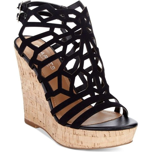 Charles by Charles David Apollo Platform Wedge Sandals ($99) ❤ liked on Polyvore featuring shoes, sandals, wedges, black, wedges shoes, black wedge shoes, charles by charles david, black shoes and kohl shoes