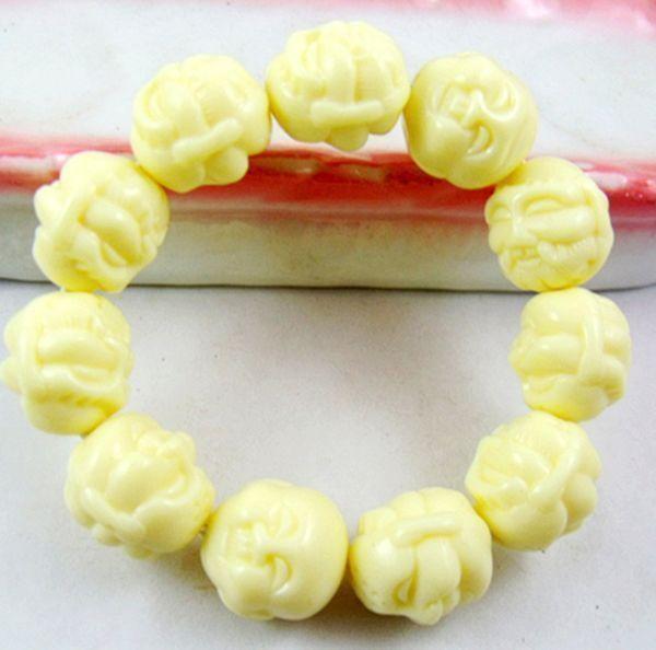 Tibetan Buddhism Scented White Beeswax beads Buddha head Amulet Bracelet