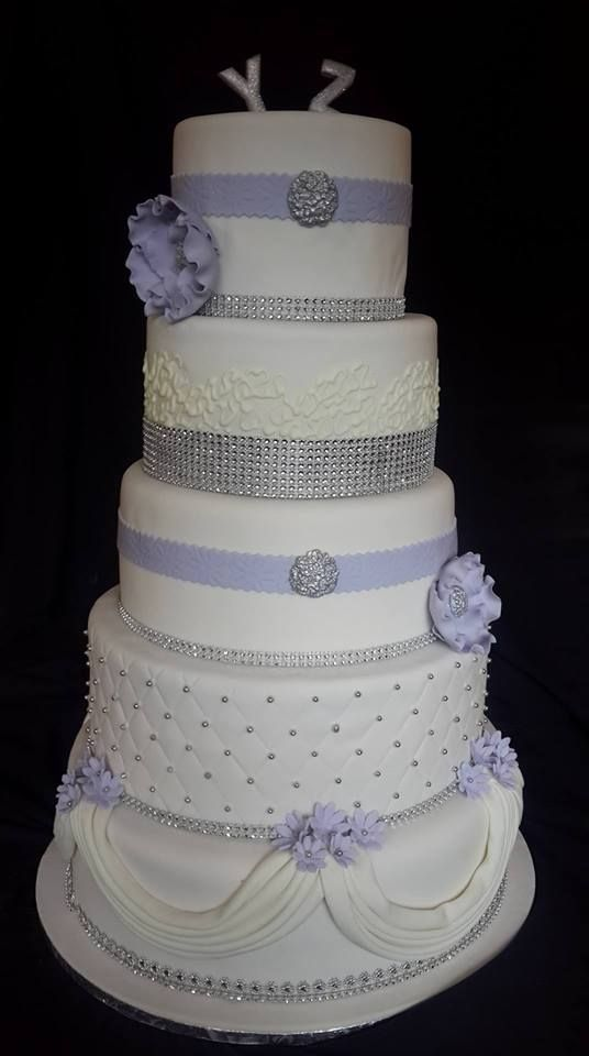 5 Tier purple, silver and white wedding cake made by Altefyn Cakes