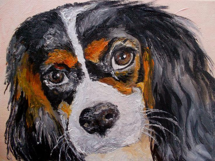 Миниатюра, картина маслом, кавалер кинг чарльз спаниель, oilpainting dog animal cavalier king charles spaniel by teslimovka on Etsy
