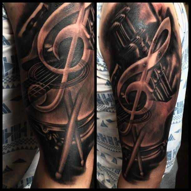 Tattoo 3D Note with the drum - Ideas Tattoo Designs