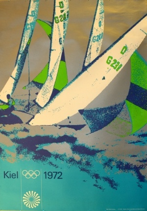 Munich Olympics Sailing, 1972 - original vintage poster by P Cornelius listed on AntikBar.co.uk