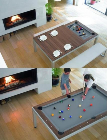 A dinner table that unfolds into a pool table