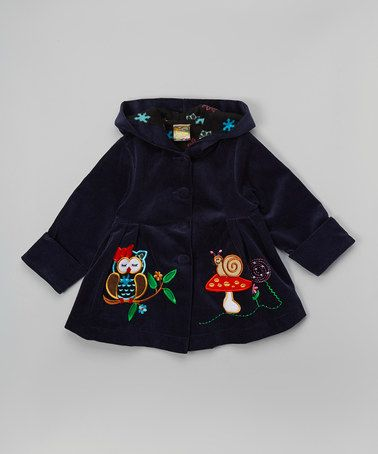 Love this Navy Corduroy Owl Hooded Jacket - Toddler & Girls on #zulily! #zulilyfinds