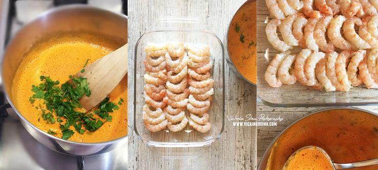 Gamberoni con salsa di peperone speziata, al forno | @vicaincucina