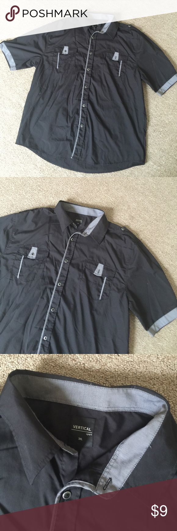 New 3x Men's Black Casual Button Down Shirt New with out Tags! Men's Black Casual Button Down Short with gray details. Size 3x Shirts Casual Button Down Shirts