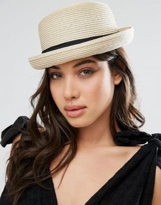 Соломенная шляпа-котелок Glamorous