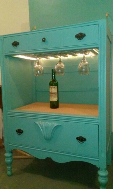 Dresser converted into a light up bar! My clever significant other made!
