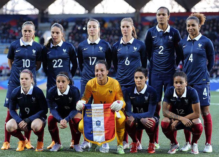 (Top left to bottom right)- France's midfielder Camille Abily, France's defender Amel Majri, France's  forward  Gaetane Thieney, France's midfielder Amandine Henry, France's defender Wendie Renard, France's defender Laura Georges,  - France's forward  Eugenie Le Sommer, France's defender Jessica Hoauara, France's goalkeeper Sarah Bouhaddi, France's midfielder Louisa Necib, France's midfielder Elodie Thomis are pictured before the Women's friendly football match France vs USA on February 8…
