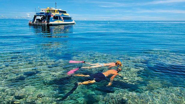 ケアンズの海岸からほど近い世界最大のサンゴ礁の海は、何千キロも続くサンゴ、海生生物、手つかずの白い砂浜が楽しめます。