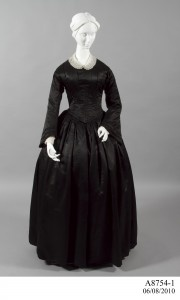 c.1857 A8754-1 Mourning dress, satin, probably worn by Amelia Hackney, maker unknown, Bathurst, New South Wales, Australia, c. 1857.Collection: Powerhouse...