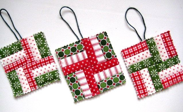 Christmas Ornaments Quilted Tiny Quilts for by QuiltyMcQuilterson