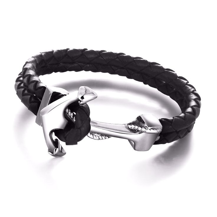 Anchor Watch Leather Bracelet (Black)