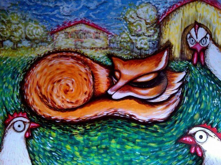 Sleeping Fox - Acrylic on canvas - 60x80cm