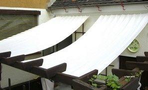 Toile d'ombrage, toile solaire, toile anti-UV, toile verticale ou toile horizontale pour velum, pergola ou brise-vue. Toile de pergola en polyester livrée avec crochets de guidage ou en kit complet