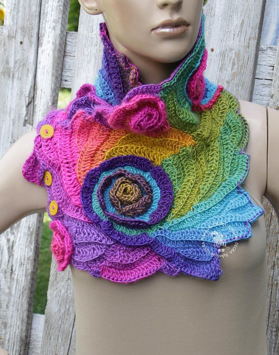 Crochet scarf Unique Capelet Neck Warmer Freeform crochet