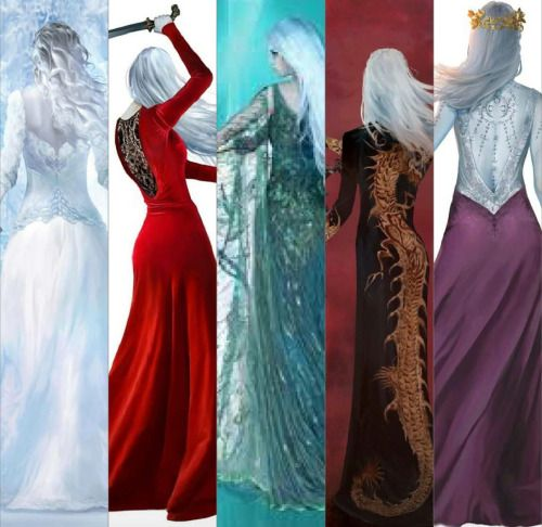Gorgeous backcover dresses of Throne of Glass>>> I'm so so so happy someone took the time to show them without the words covering them!!