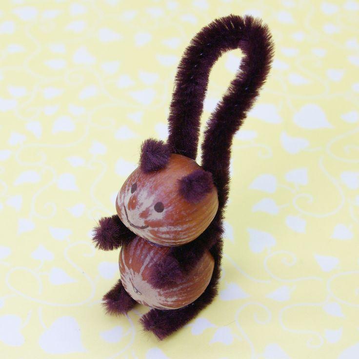 Eichhörnchen basteln aus Haselnüssen Pfeifenreiniger Anleitung DIY fertig 1