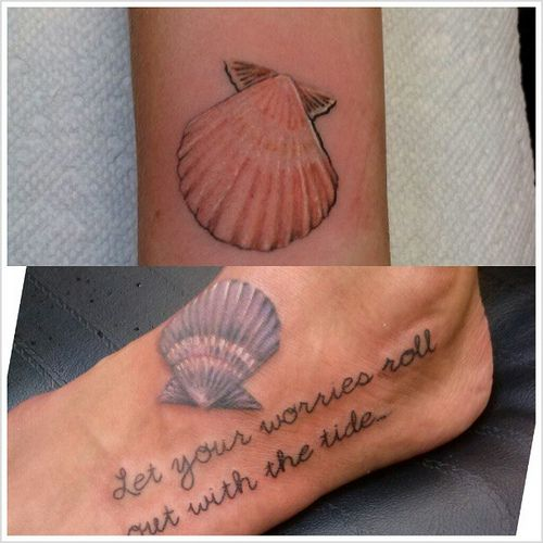 A couple of seashell tattoos i did today. Top on a super l… | Flickr