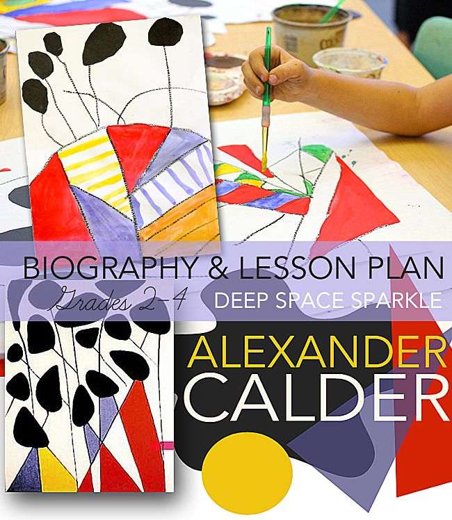 Kids create an abstract painting just like American artist, Alexander Calder. Easy art activity for boys and girls ages seven-ten.
