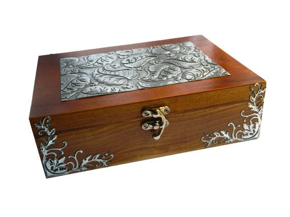 Wood and pewter tea box solid wood trinket box by Loutul on Etsy