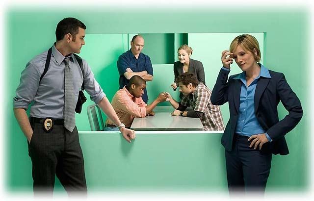 Psych TV Show Cast. Lol!! I love that Jules is cheering Shawn on.