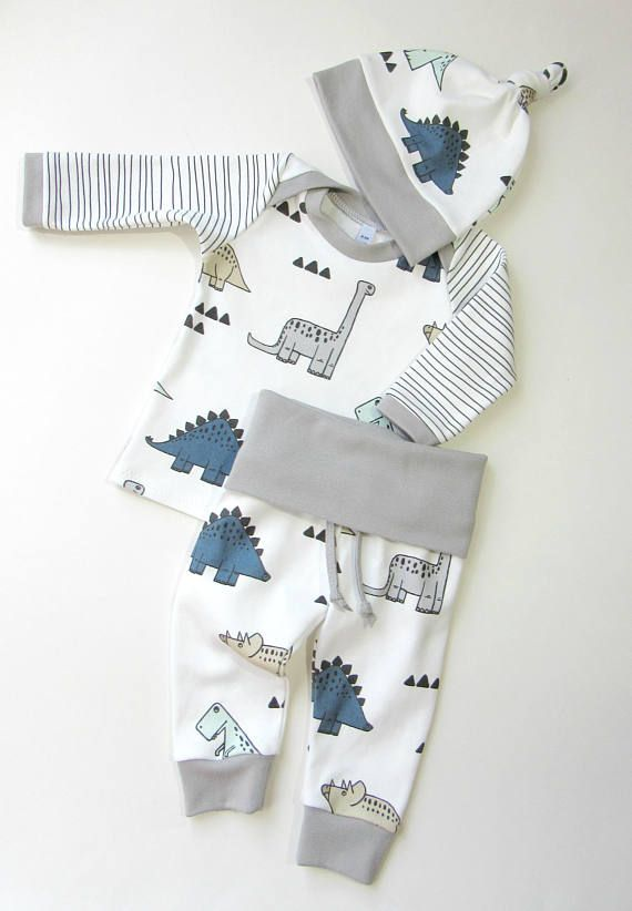 Baby boy ORGANIC winter coming home outfit-Baby dinosaurs outfit for boys-Organic baby boy set-Toddler clothing-Newborn outfit
