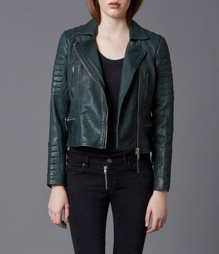 AllSaints Forest Leather Biker Jacket | Womens Leather Biker Jackets #green_leather