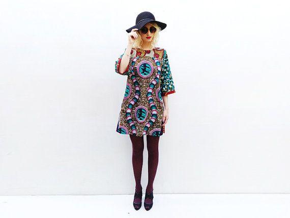 african print mini dress loose tunic dress spring fashion african