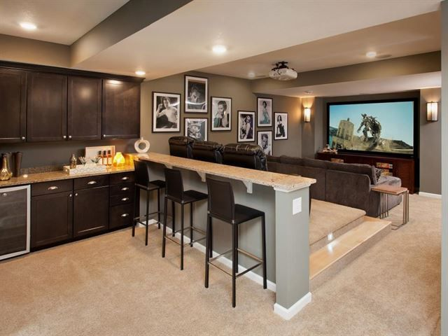 Make The Bar Parallel To The Tv And Seating Areas. Nice Set Up For A  Basement Theater/game Room