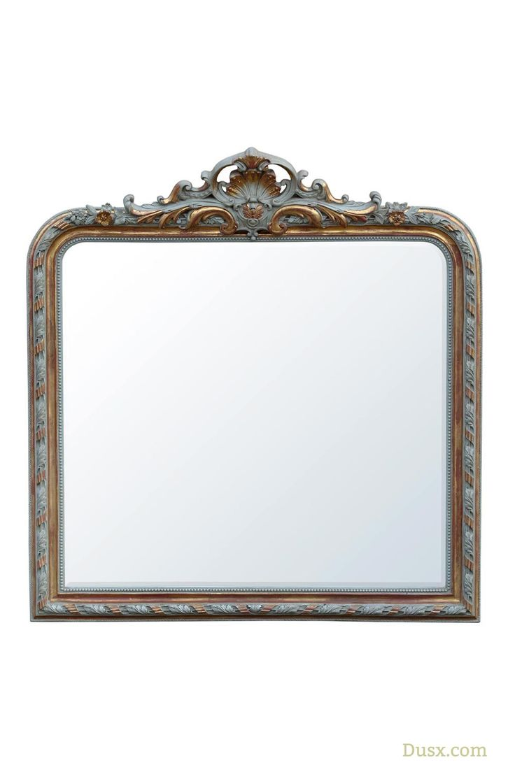 Versailles French Rococo Grey & Gold Leaf Bevelled Overmantle Wall Mirror : For sale at www.DUSX.com