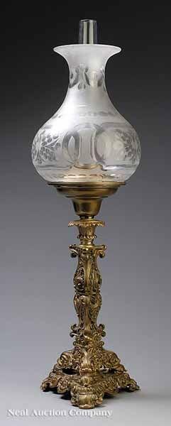 Rococo Revival Gilt Bronze Solar Lamp, mid-19th c.