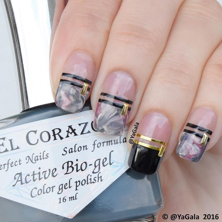"Saran Wrap nail design I useEl Corazon No.423/267, No.423/277, No.423/281 (on photo), No.878 @el_corazon_art_direct  Base coat No.423 ""Perfect Nails"" @el_corazon_shop  Gold decoration @oceannailsupply Video will be up soon . . Дизайн в холодных зимних оттенках Лаки El Corazon No.423/267, No.423/277, No.423/281 (on photo), No.878 @el_corazon_art_direct  База El Corazon No.423 @el_corazon_shop  Золотые заклепки @oceannailsupply Видео будет вечером"