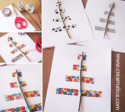 ★ ✄ DIY Carte Sapin Noël Masking Tape / DIY Washi Tape Christmas Tree Card ✄ ★ www.creamalice.com