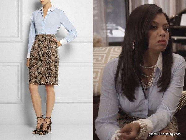 #Empire Fashion Recap: #Cookie's #AltuzarraforTarget Pinstriped and Python Shirt Dress #empirefox #cookielyons #fashion #ootd #glamazonsblog