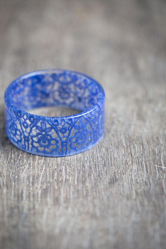 Serenity Blue Lace Resin Bangle Bracelet Vintage French Lace Wide Cuff OOAK wedding bridal eco friendly jewelry