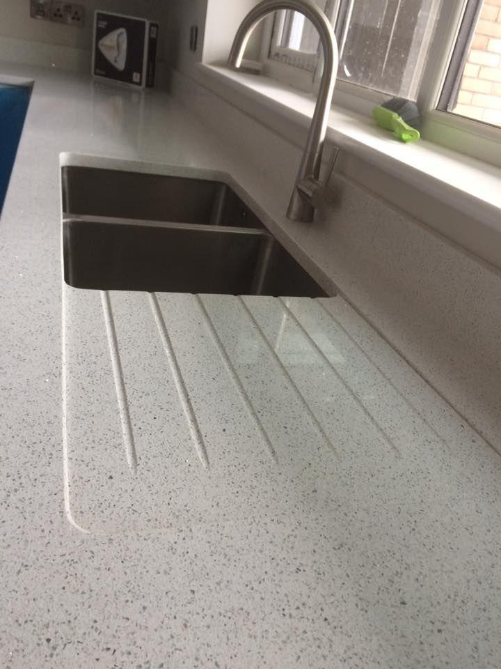 Silestone Stellar Blanco With Inset Drainer Blanco Drainer Inset Silestone In 2020 Replacing Kitchen Countertops Quartz Kitchen Countertops Granite Worktop Kitchen