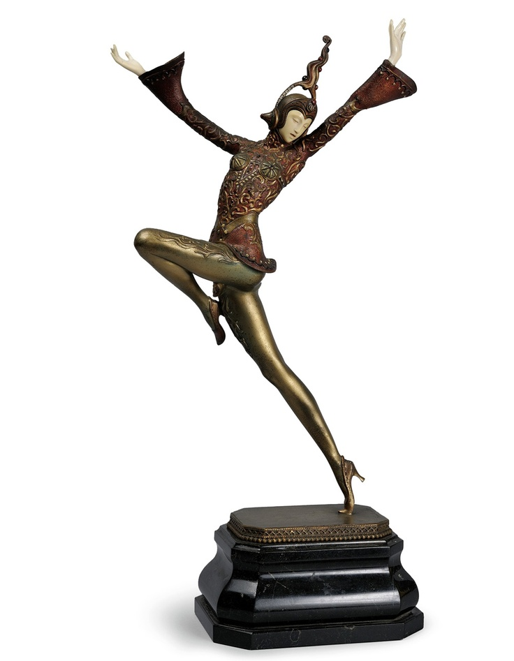 'EASTERN DANCER'  A cold painted bronze and ivory by Gustav Schmidt-Cassel circa 1930.