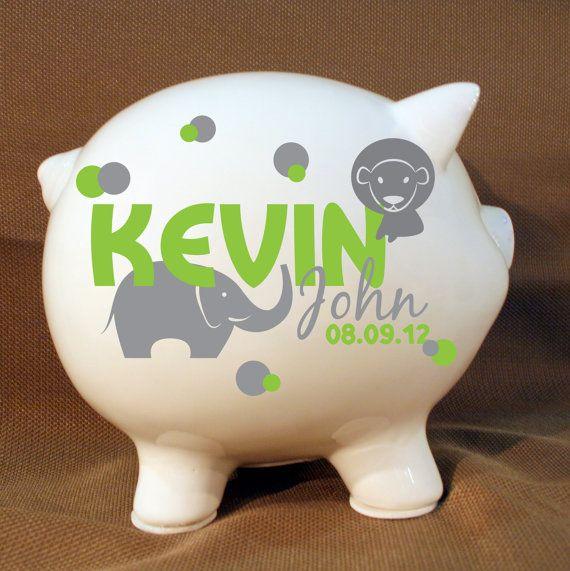 """8"""" Jungle Animals Style Personalized Piggy Bank - Boys Custom Bank, Boys Birthday Gift, Baptism Present, Elephant, Monkey, Extra Large Pig"""