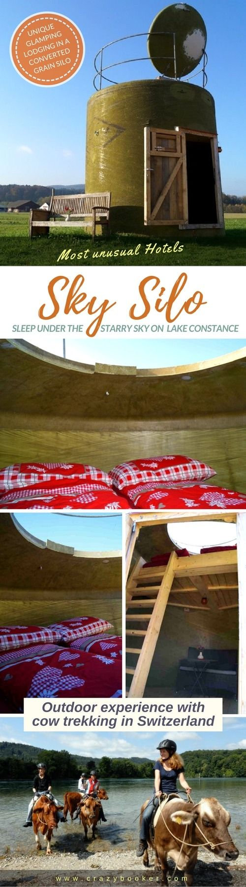 Converted grain silo for romantic open air nights! | This unique accommodation near Lake Constance features an expendable roof to open for stargazing and works perfectly as country getaway for romantic outdoor overnight stays | Learn more on www.crazybooker.com or follow board to discover further unsual hotels & lodgings in #Switzerland! #glamping #starrynight