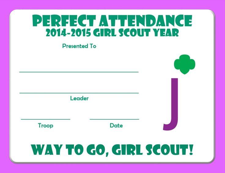 Junior Perfect Attendance Certificate 2014-2015 Junior Girl - free printable perfect attendance certificate